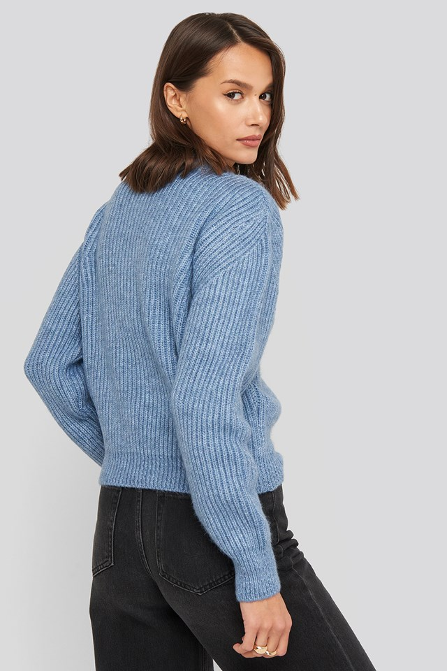 High Neck Ribbed Knitted Sweater Blue