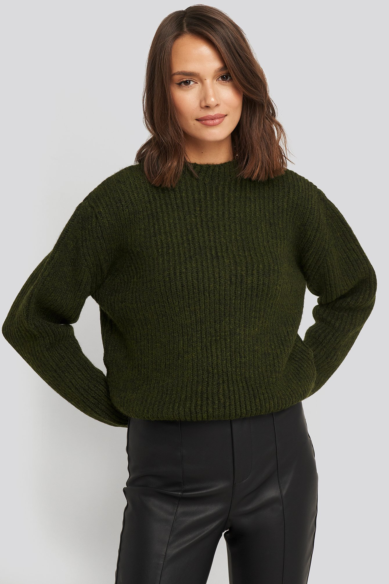 na-kd -  High Neck Ribbed Knitted Sweater - Green