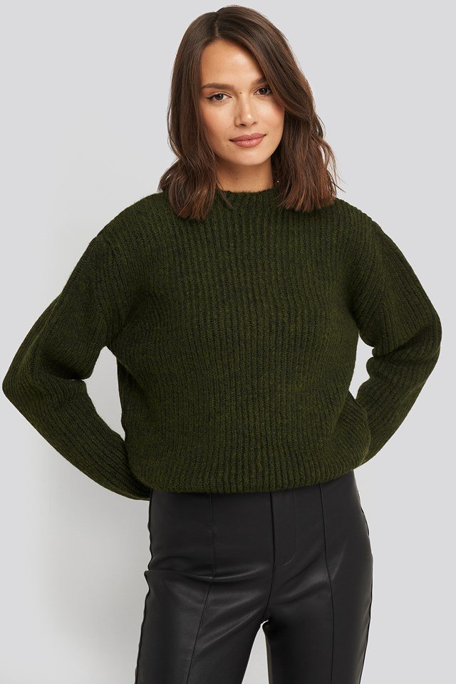 High Neck Ribbed Knitted Sweater NA-KD