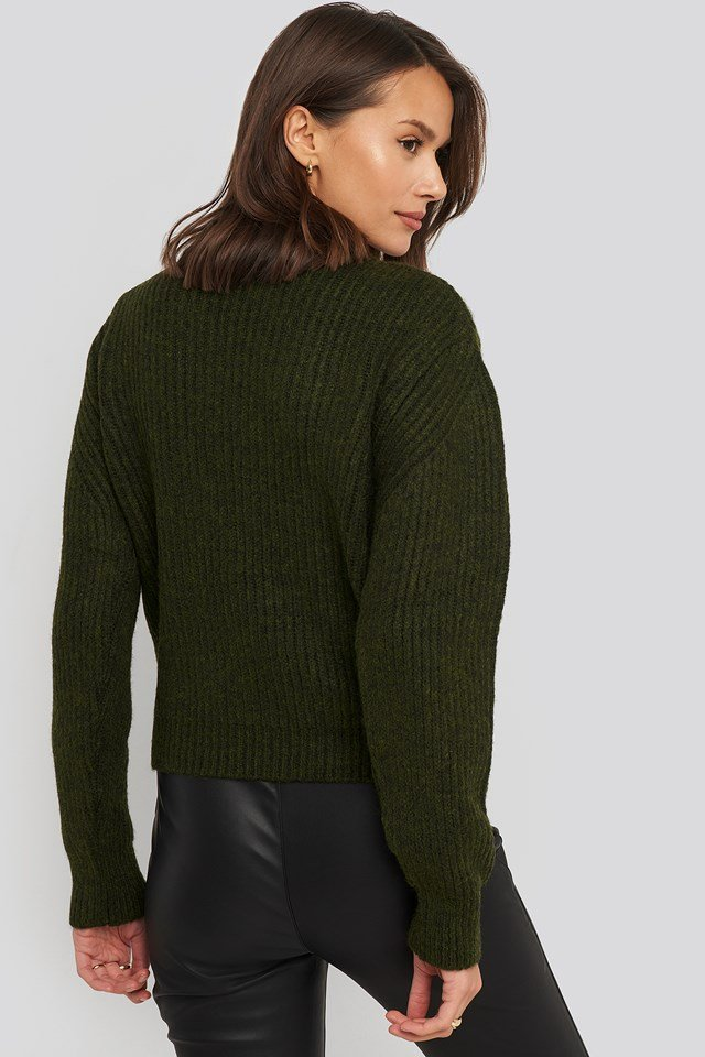 High Neck Ribbed Knitted Sweater Dark Green