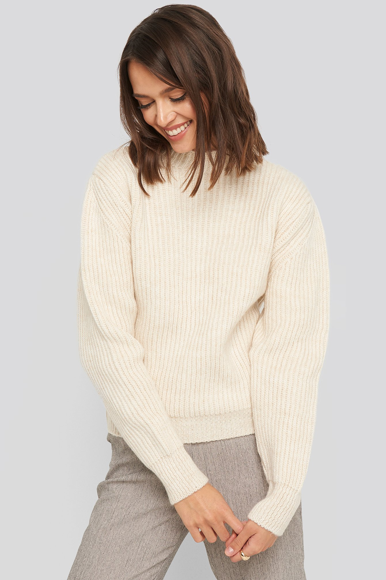 na-kd -  High Neck Ribbed Knitted Sweater - White