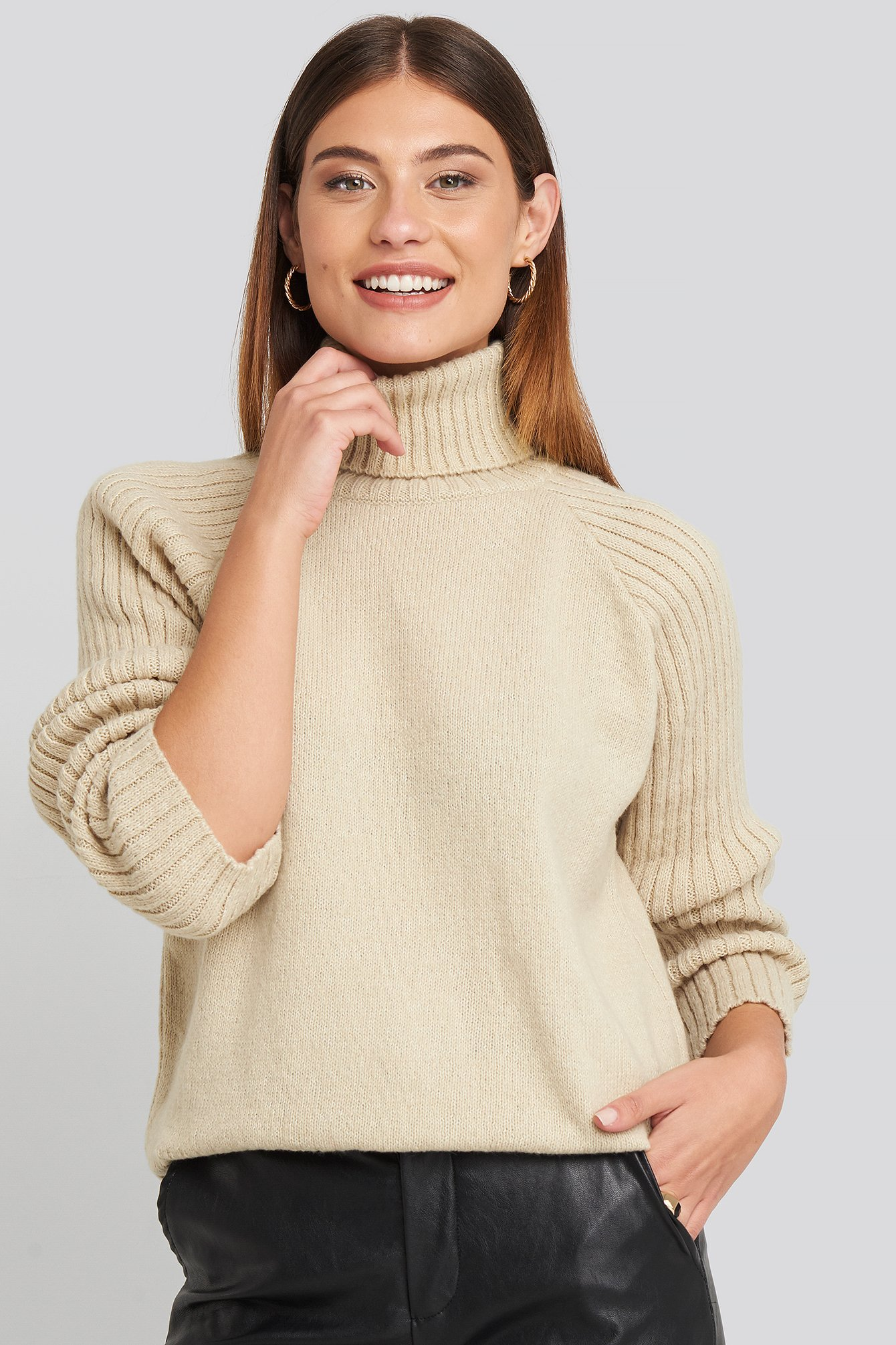 High Neck Ribbed Sleeves Sweater Beige by Na Kd