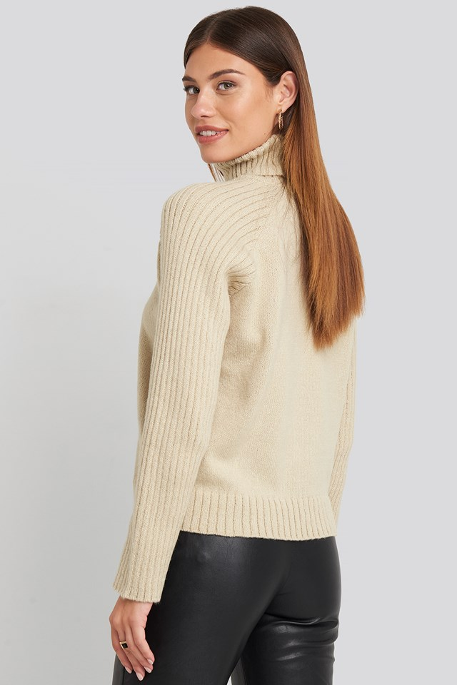 High Neck Ribbed Sleeves Sweater Beige