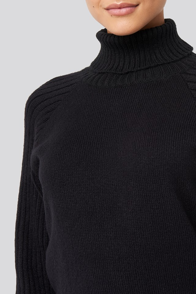 High Neck Ribbed Sleeves Sweater Deep Black