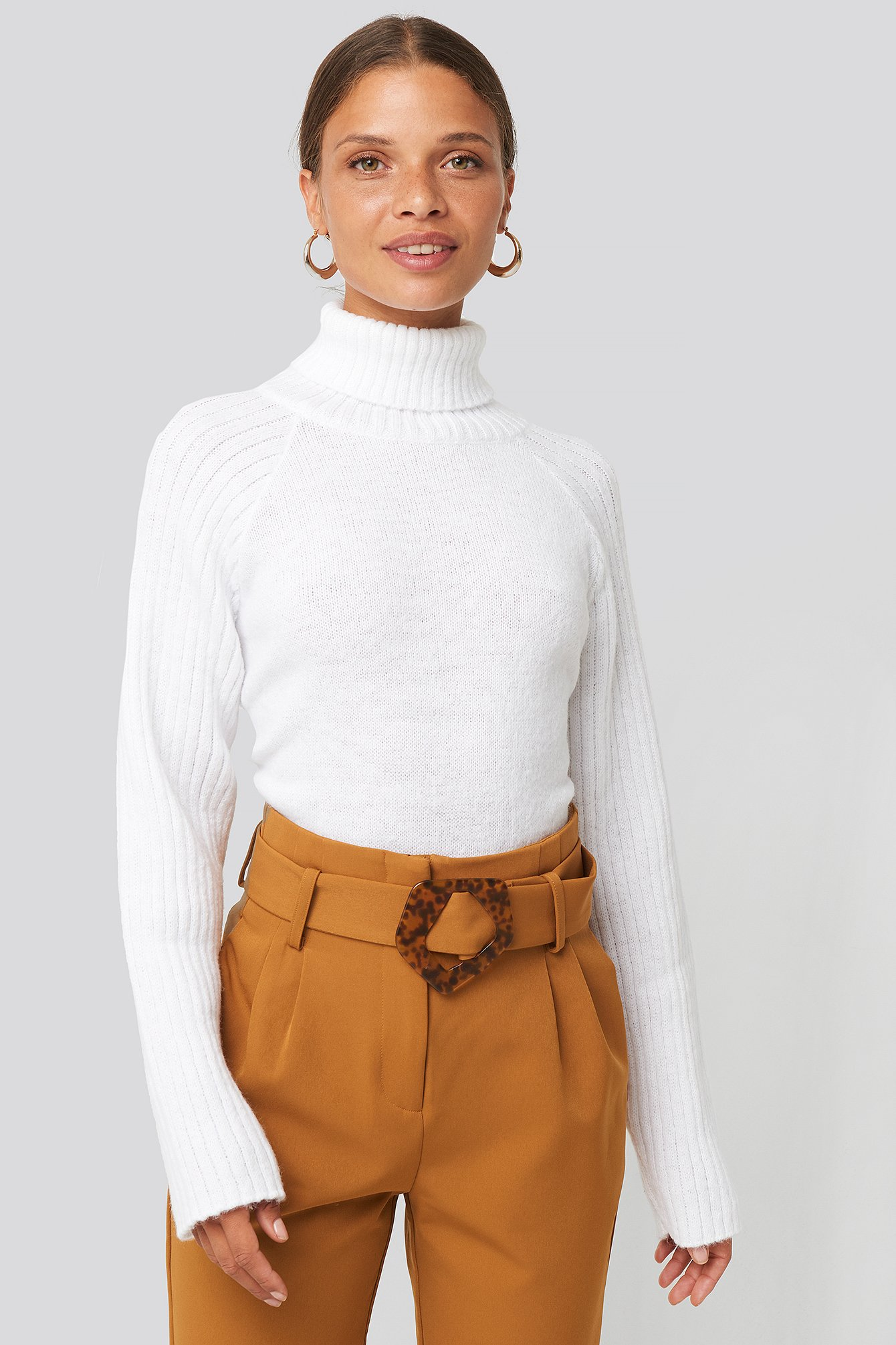 High Neck Ribbed Sleeves Sweater White by Na Kd