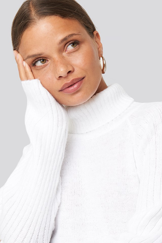 High Neck Ribbed Sleeves Sweater Off White