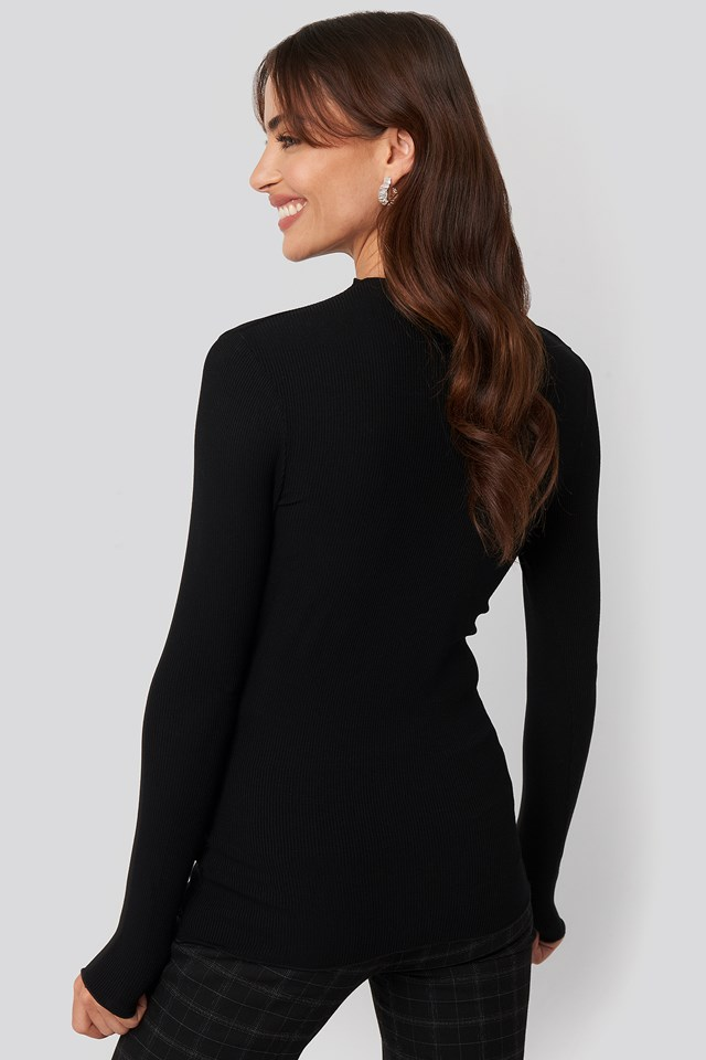 High Neck Ribbed Top Black