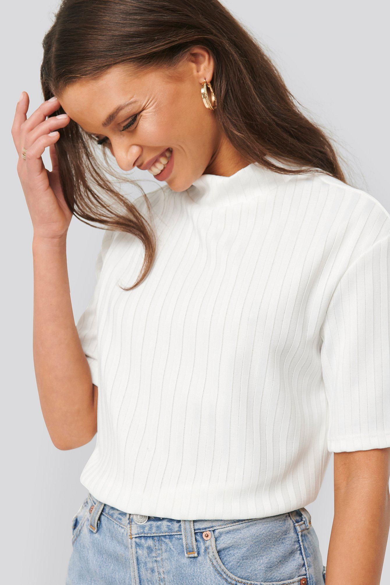 na-kd trend -  High Neck Ribbed Top - White