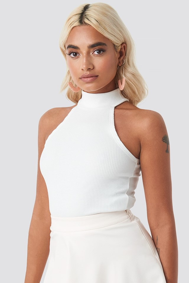 High Neck Ribbed Top Offwhite