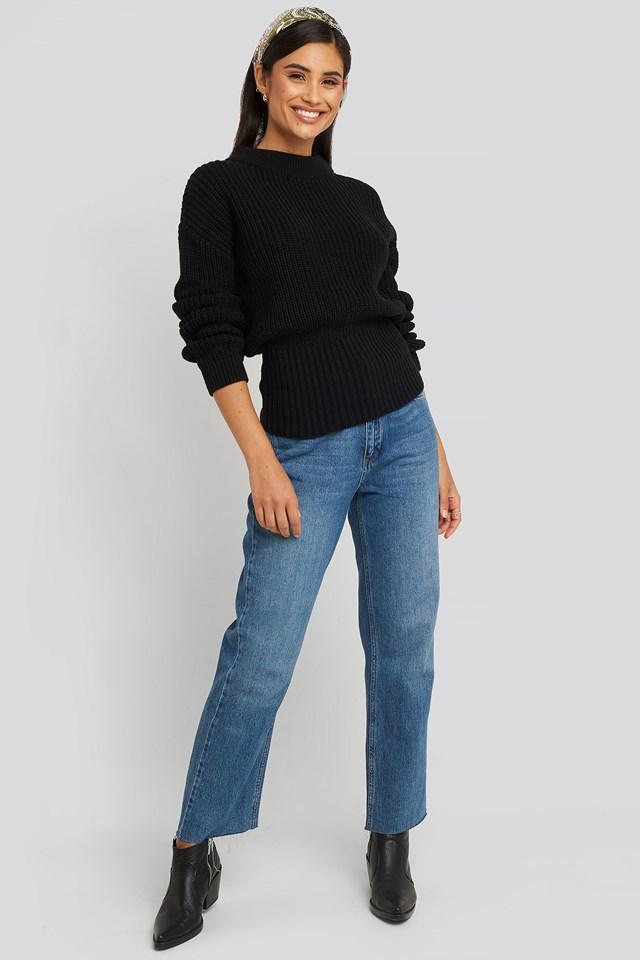 High Neck Romantic Sweater Deep Black