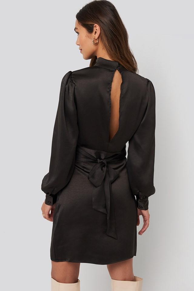 High Neck Satin Dress Black