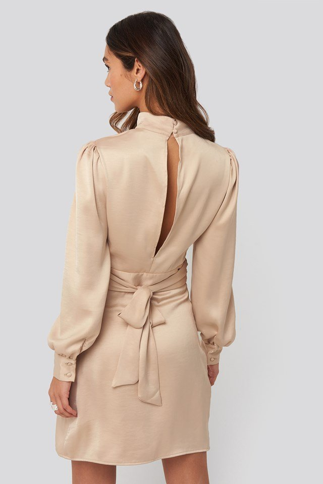 High Neck Satin Dress Light Beige