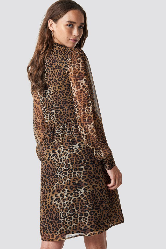 High Neck Shirt Dress Leoprint