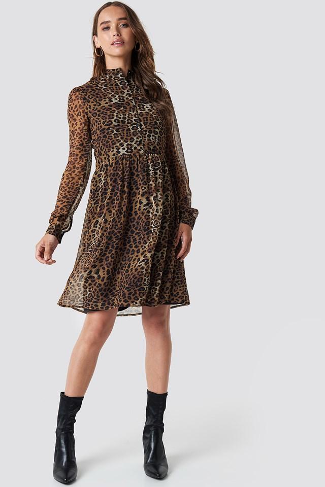 High Neck Shirt Dress Leoprint