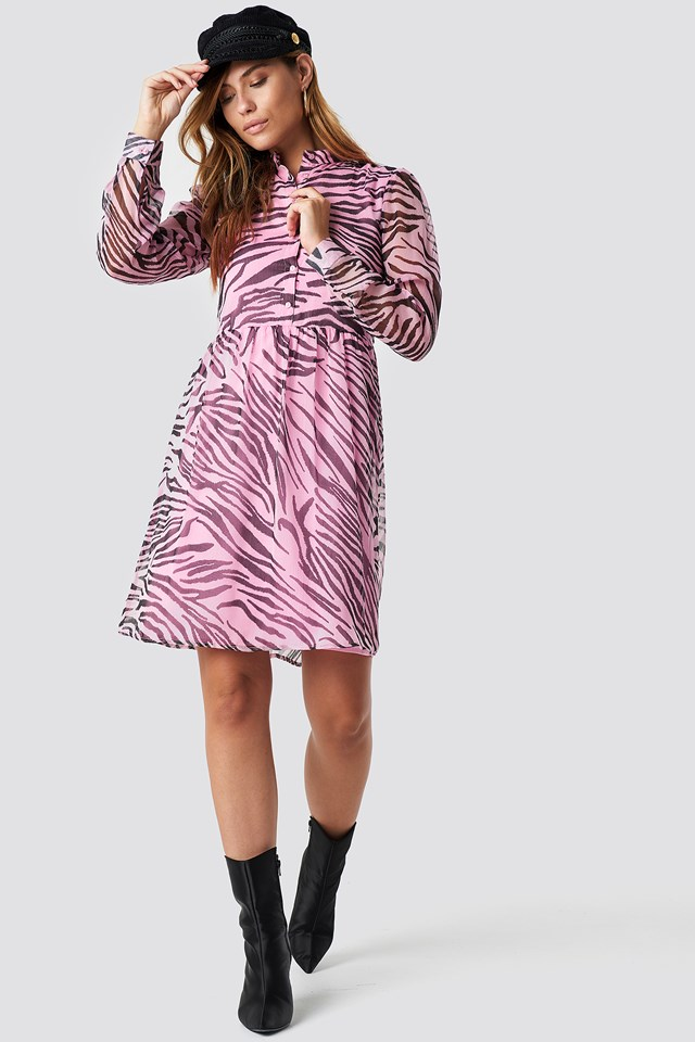 High Neck Shirt Dress Tiger Pink Pattern
