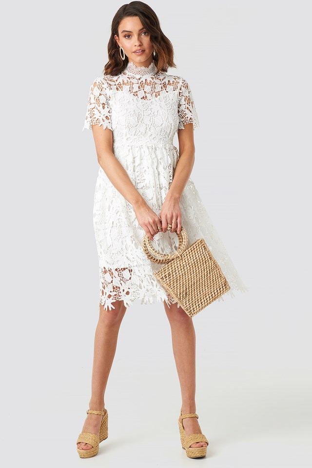 High Neck Short Sleeve Lace Dress NA-KD.COM