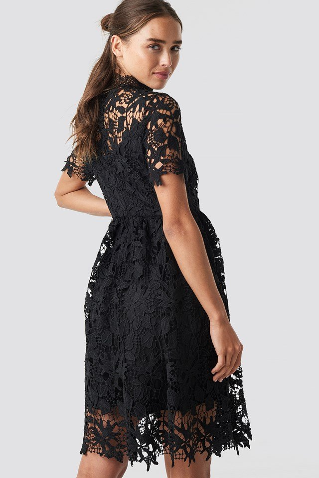 High Neck Short Sleeve Lace Dress Black
