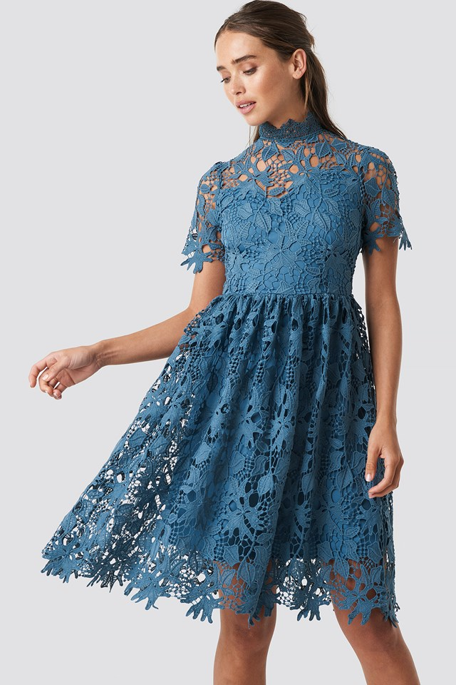 High Neck Short Sleeve Lace Dress Dark Dusty Blue