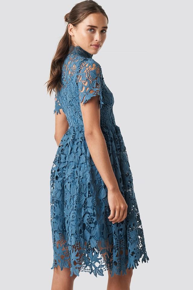 High Neck Short Sleeve Lace Dress Dark Dusty Blue