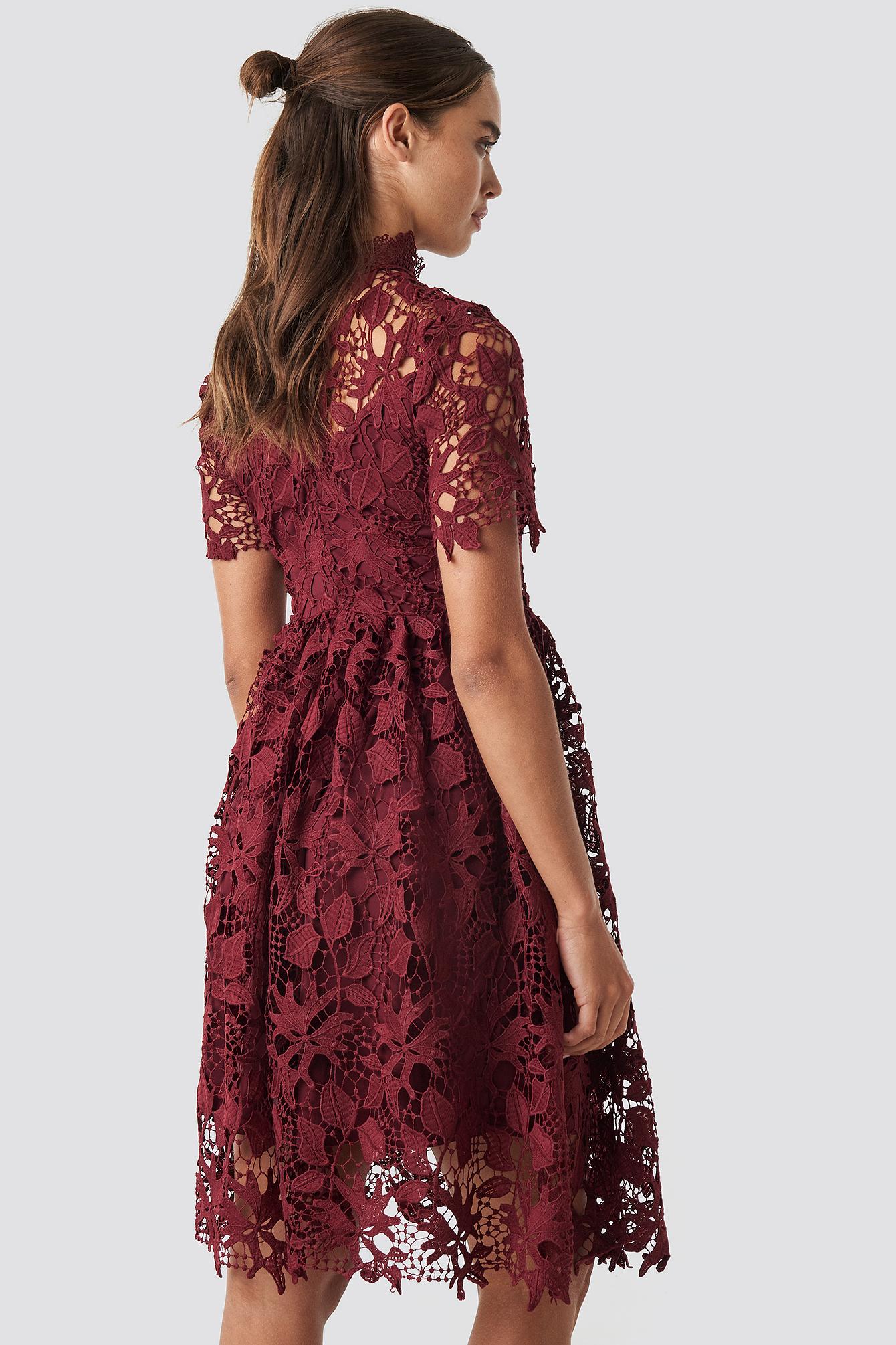 High Neck Short Sleeve Lace Dress NA-KD.COM