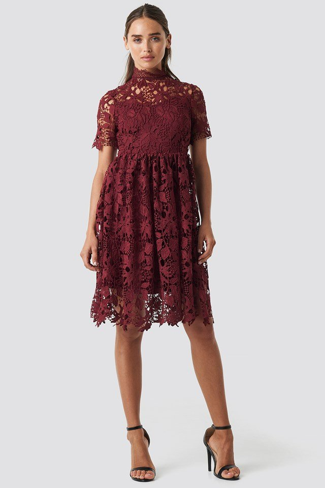 High Neck Short Sleeve Lace Dress Rustic Red