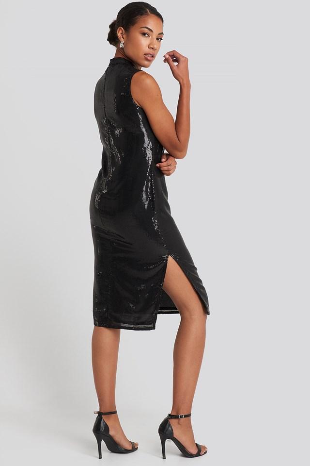 High Neck Side Slit Sequins Dress Black