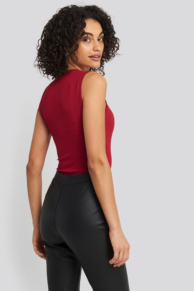 High Neck Sleeveless Body Red