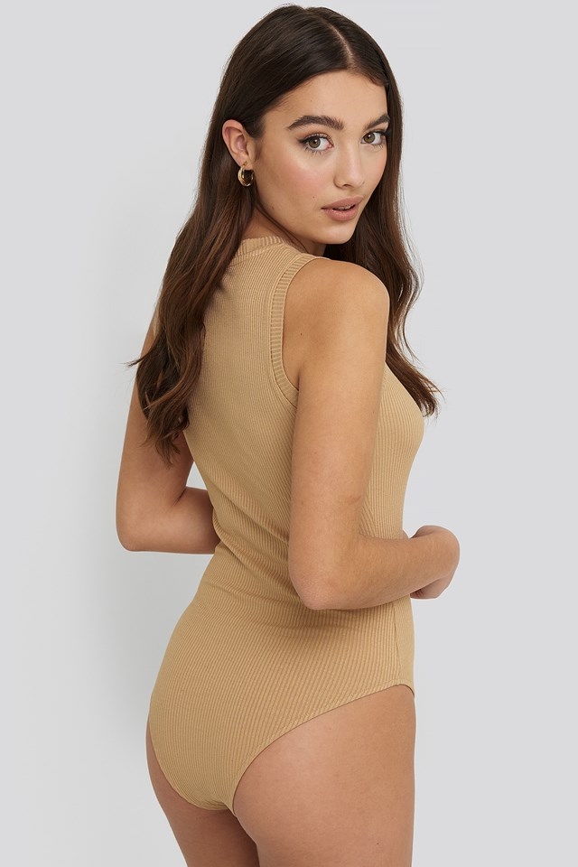 High Neck Sleeveless Body Tan