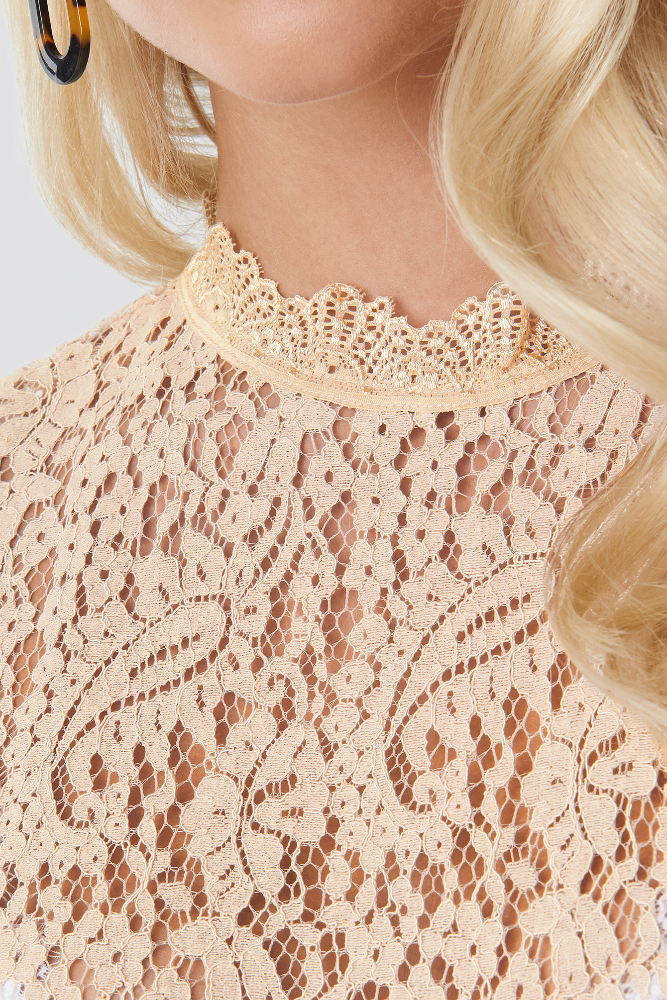 Cream High Neck Short Sleeve Lace Top