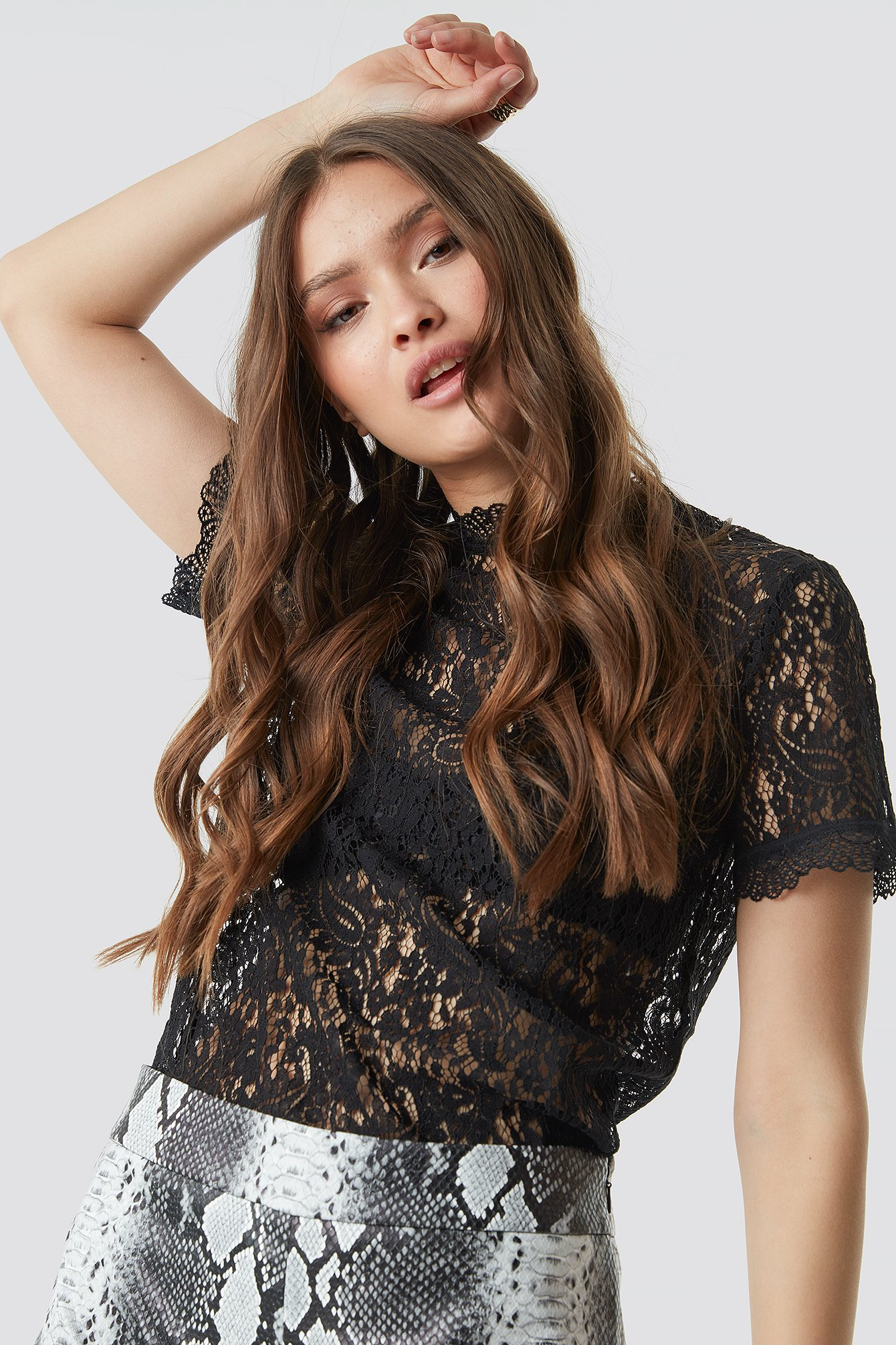 Black High Neck Short Sleeve Lace Top