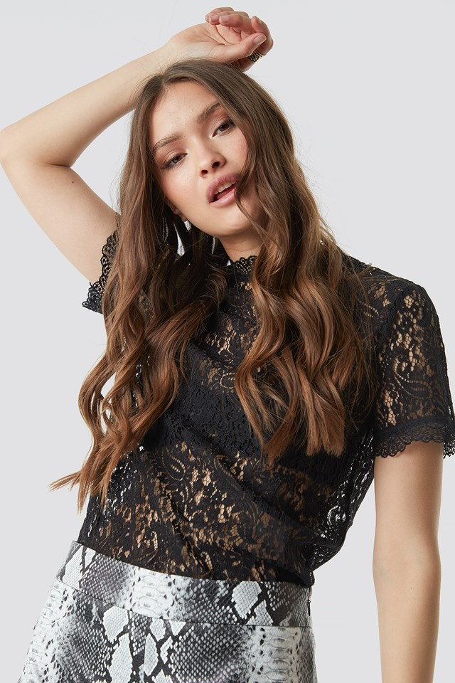 High Neck Short Sleeve Lace Top NA-KD Party