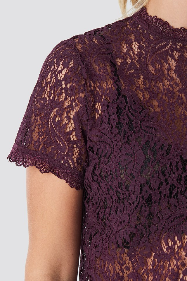 High Neck Short Sleeve Lace Top NA-KD.COM
