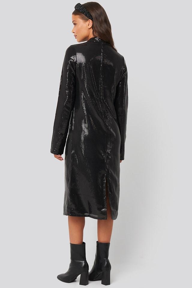 High Neck Straight Sequins Dress Black