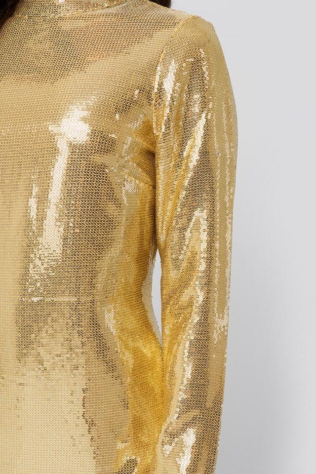High Neck Straight Sequins Dress Gold
