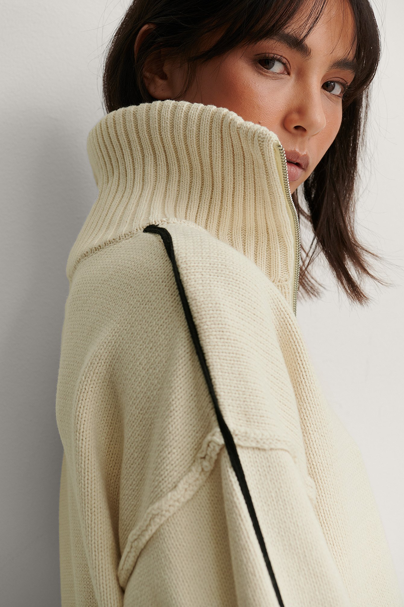 Light Beige High Neck Stripe Detail Knitted Sweater