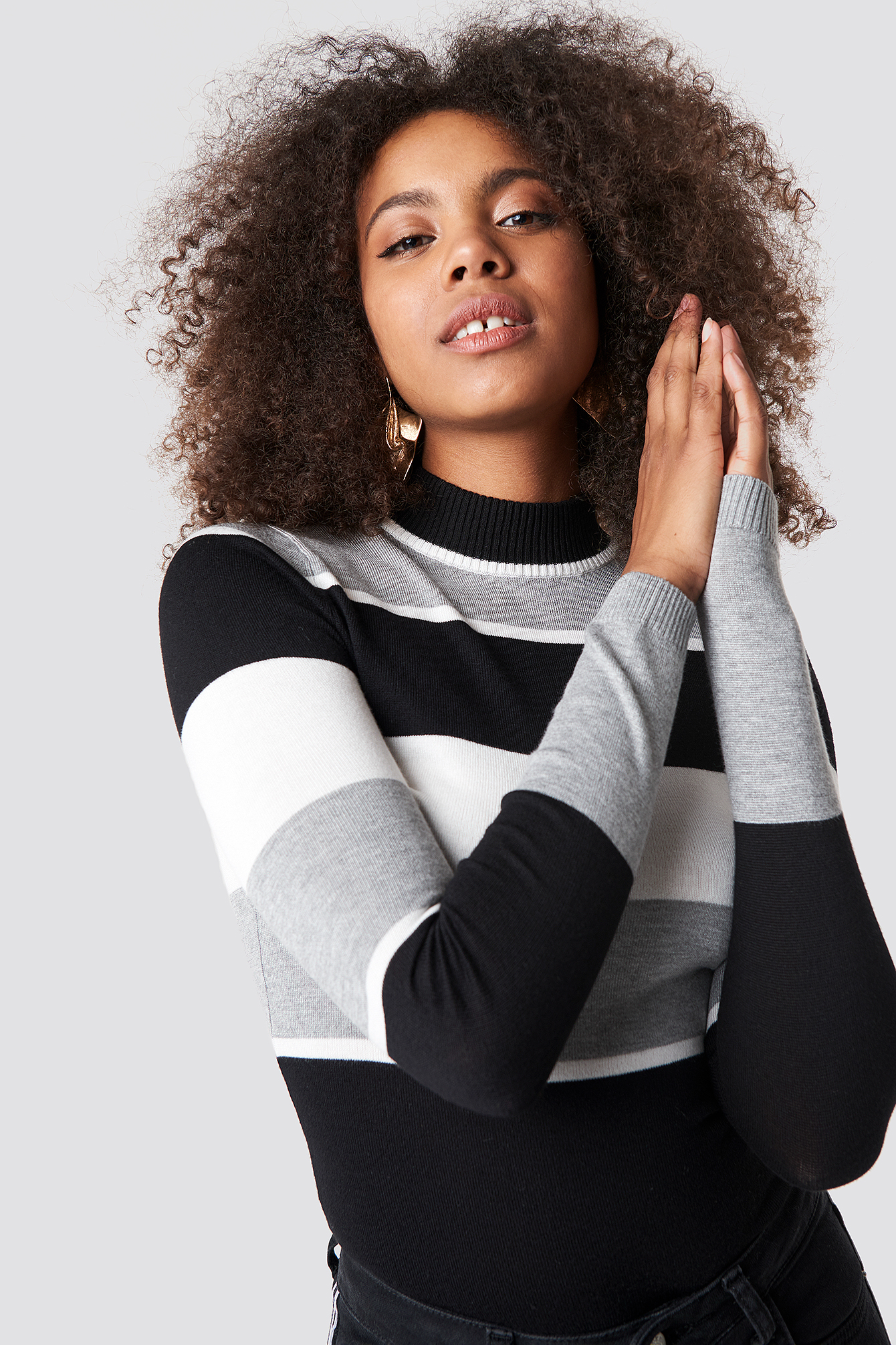 High Neck Striped Sweater NA-KD.COM
