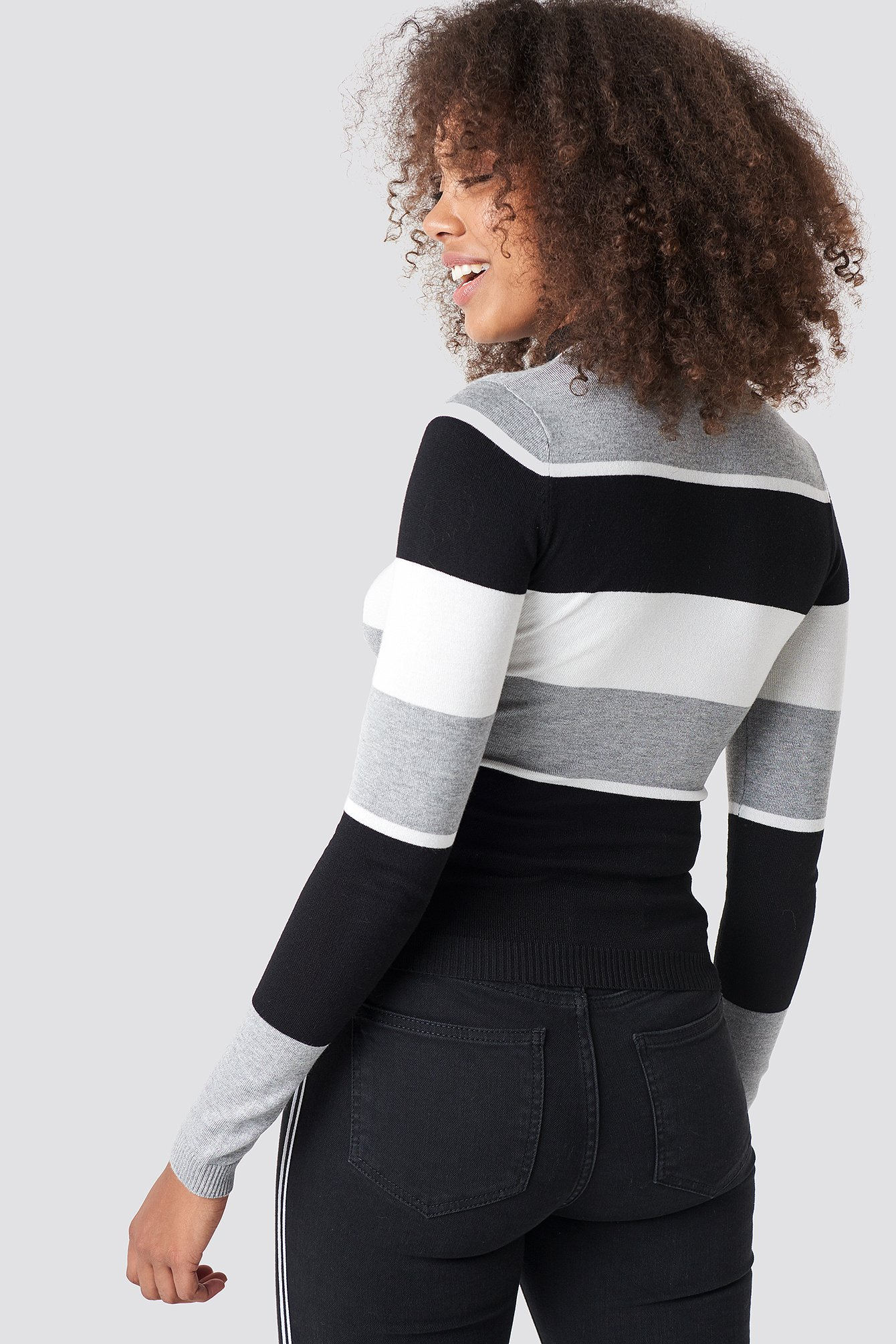 Striped High Neck Striped Sweater