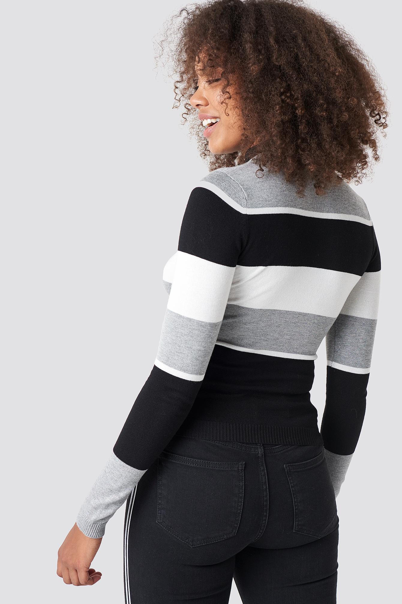 High Neck Striped Sweater NA-KD.COM