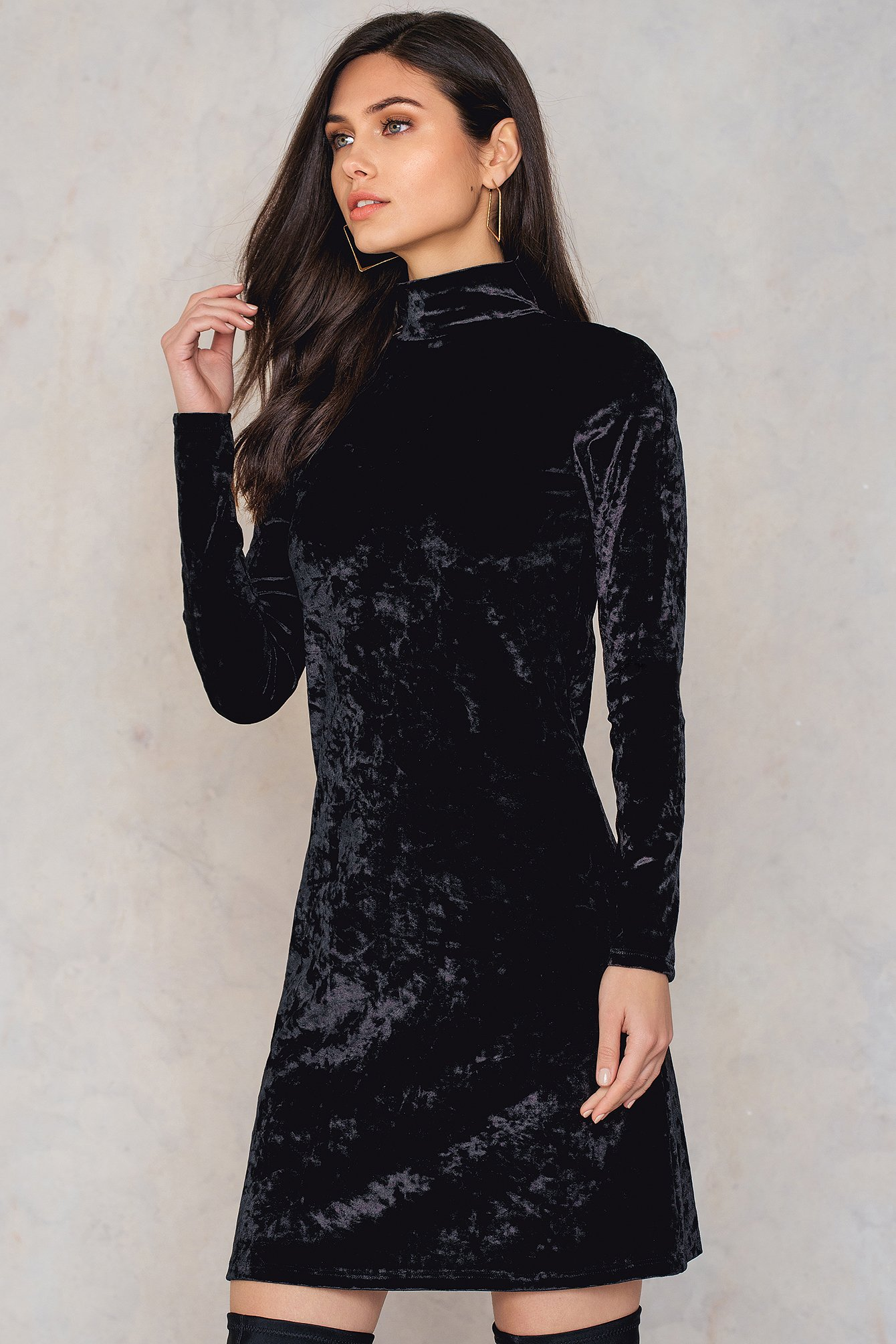 Black High neck Velvet Dress