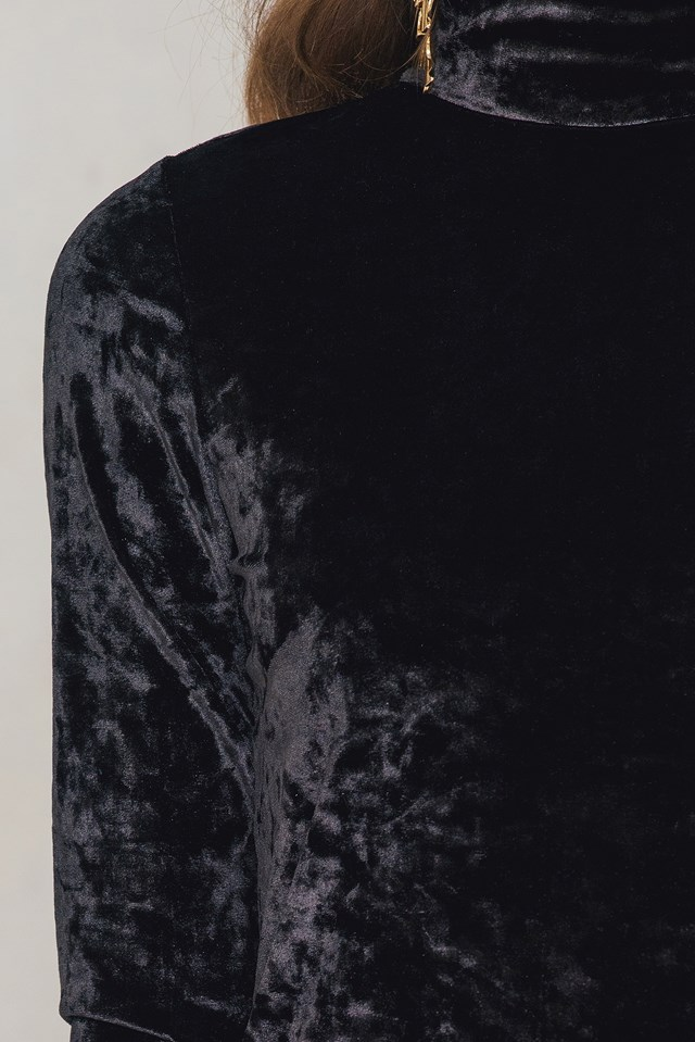 High neck Velvet Dress Black