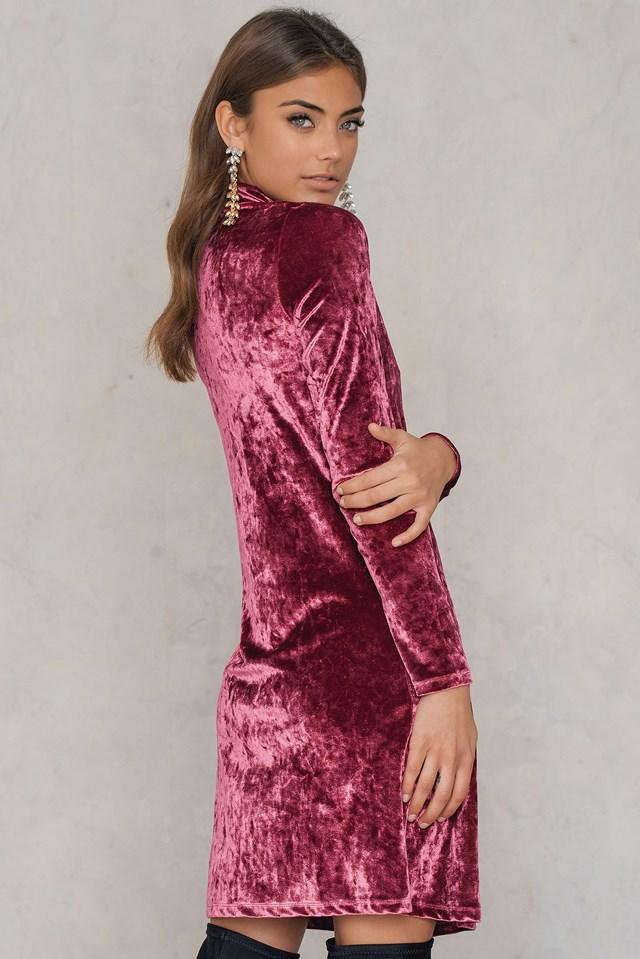 High neck Velvet Dress Burgundy