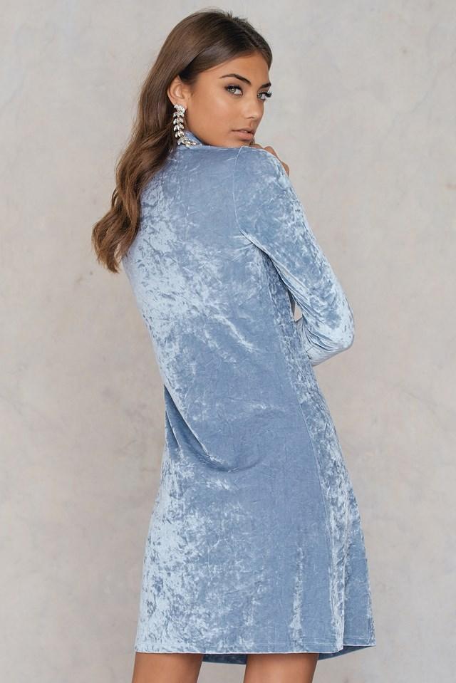 High neck Velvet Dress Dusty Blue