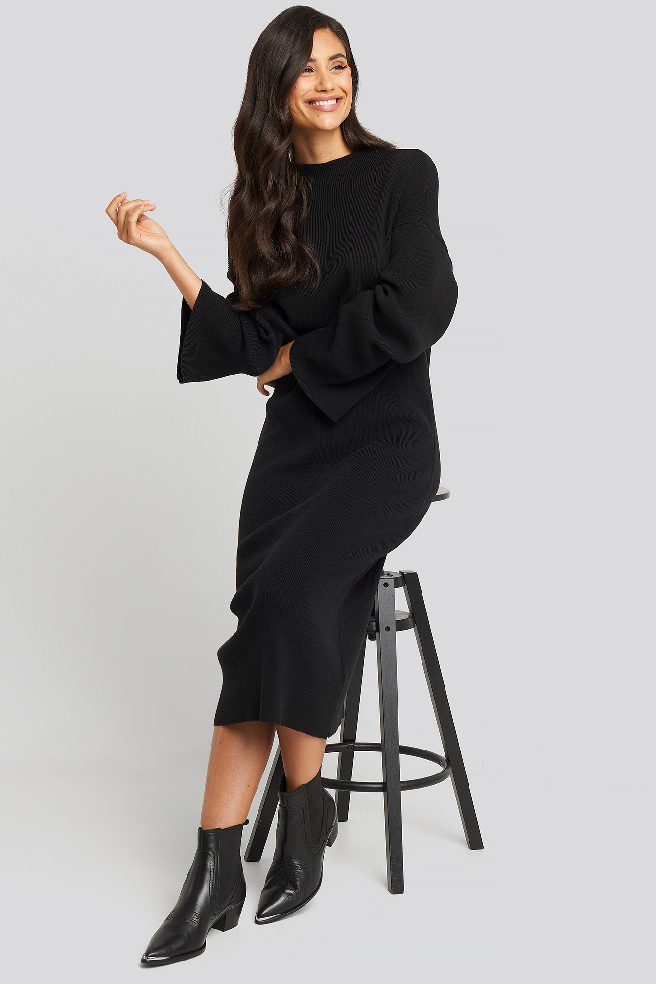 High Neck Wide Sleeve Knitted Dress Black by Na Kd Trend
