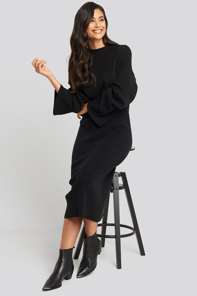 High Neck Wide Sleeve Knitted Dress Black