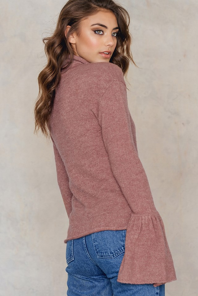 High Neck Wide Sleeve Knitted Sweater Pink