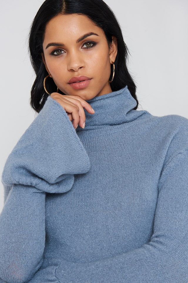 High Neck Wide Sleeve Knitted Sweater Blue Stone