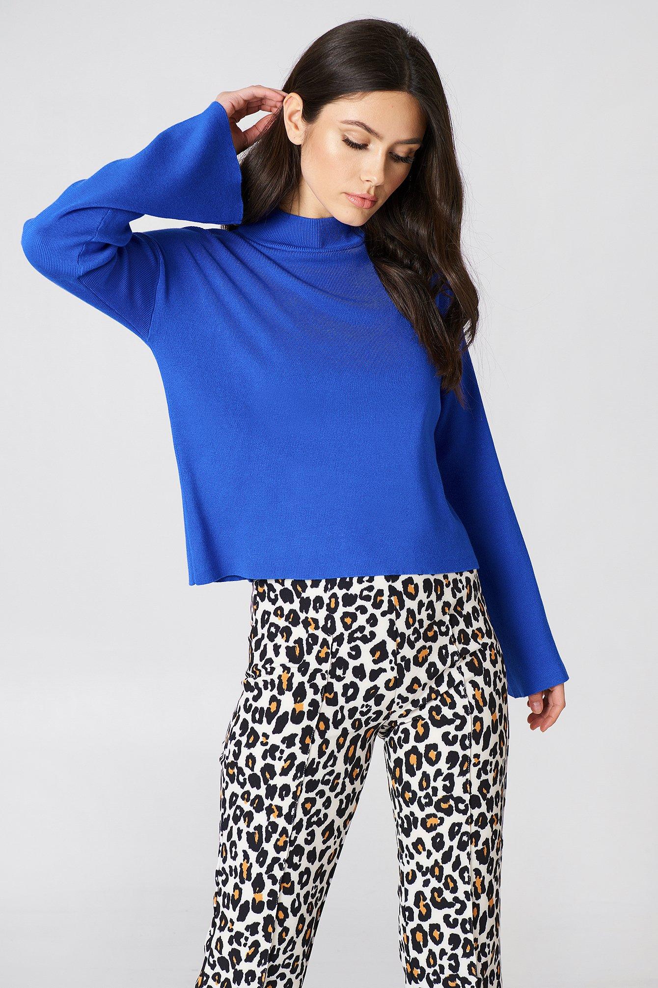na-kd -  High Neck Wide Sleeve sweater - Blue