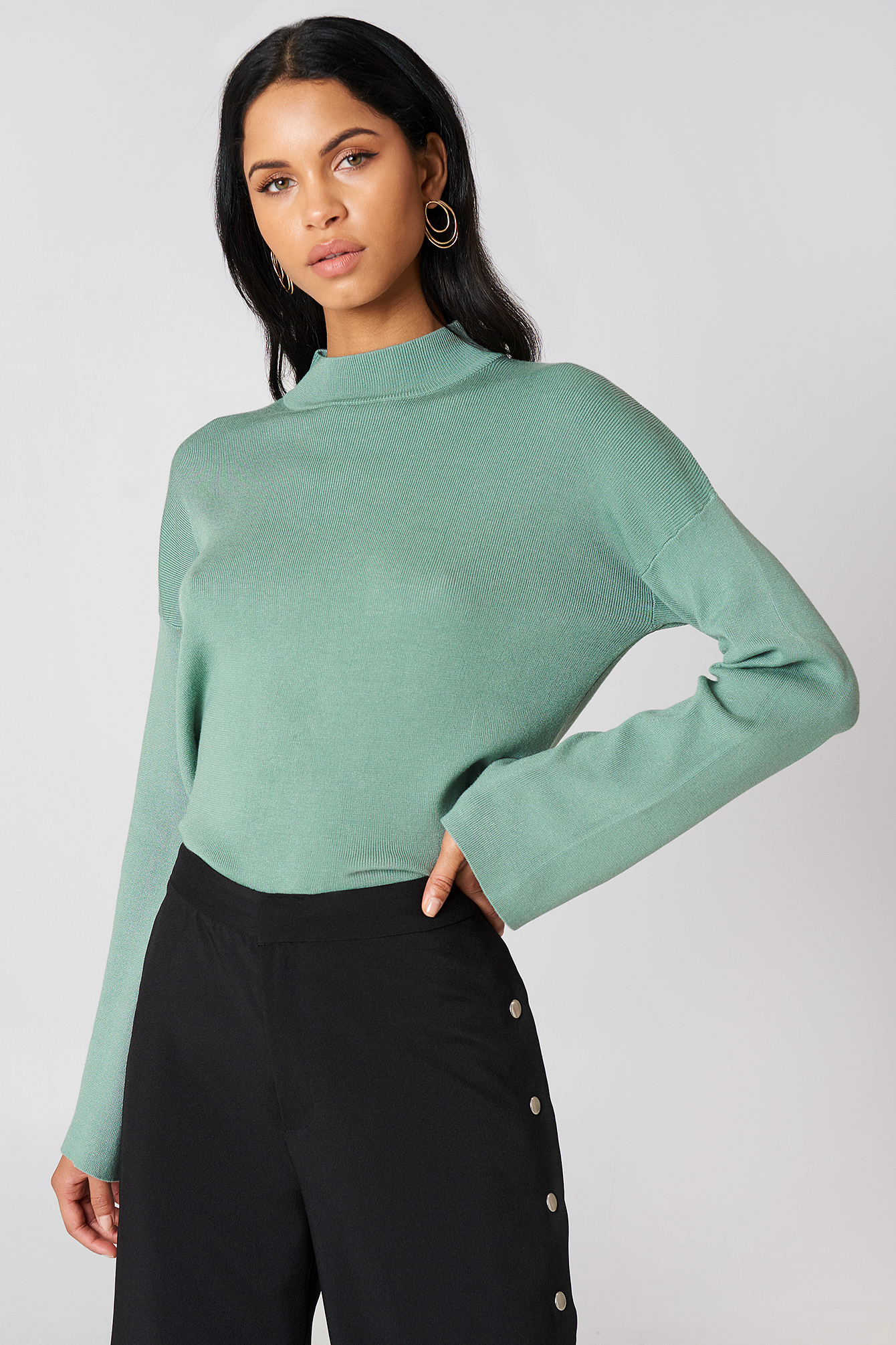 High Neck Wide Sleeve sweater NA-KD.COM