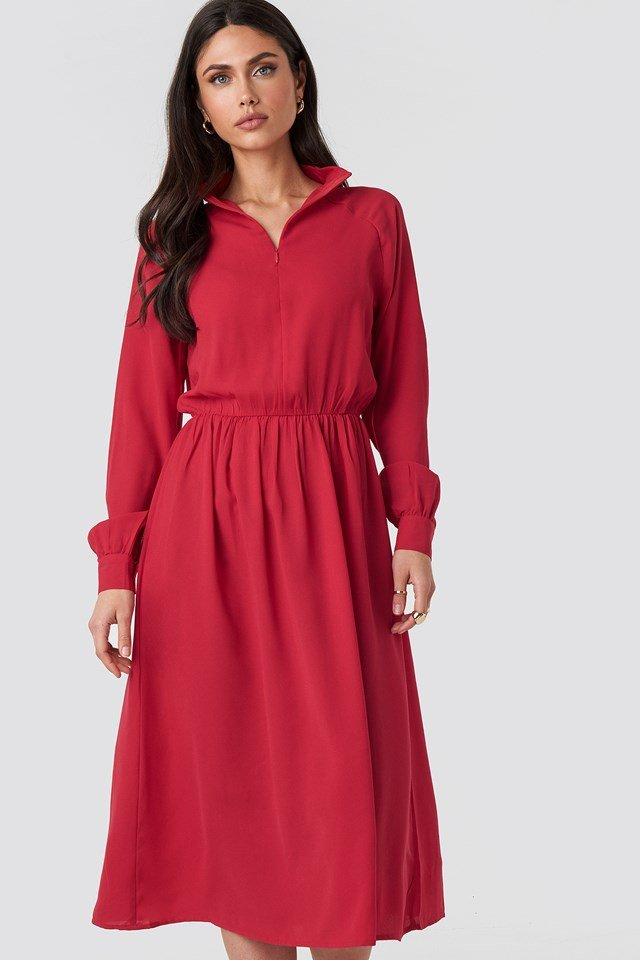 High Neck Zip Front Ankle Dress Red