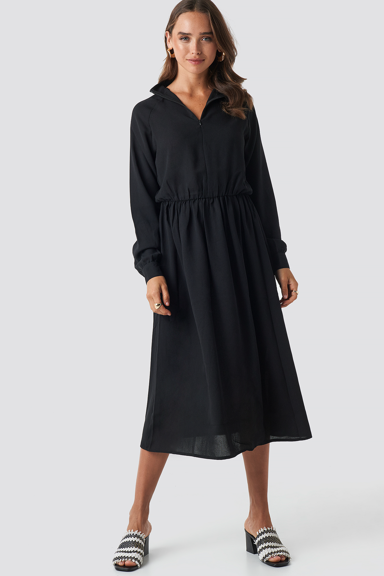High Neck Zip Front Ankle Dress NA-KD.COM